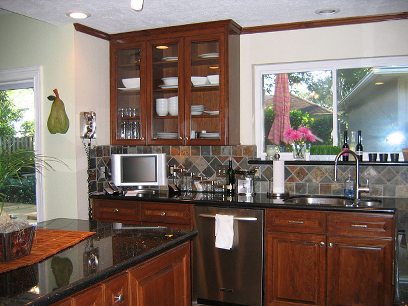 Delectable White Kitchen Cabinets Slate Floor Gallery Kitchen Black Galaxy Granite Cherry Cabinets Slate Tile Floor